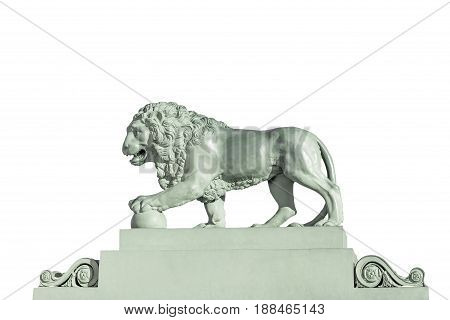 Sculpture of a lion (made in 1832) on the embankment of the Neva River in St. Petersburg Russia Isolated on white background