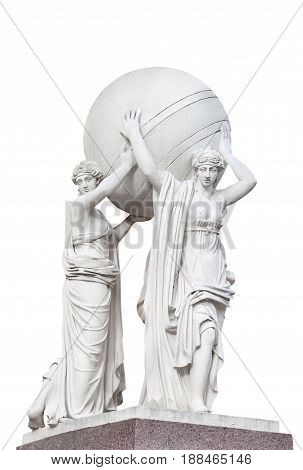 Statues of nymphs carrying the earth's sphere isolated on a white background part of facade of the Main Admiralty (built in 1811) Saint Petersburg Russia