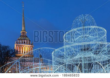 Admiralty at night and Christmas illumination in St. Petersburg Russia