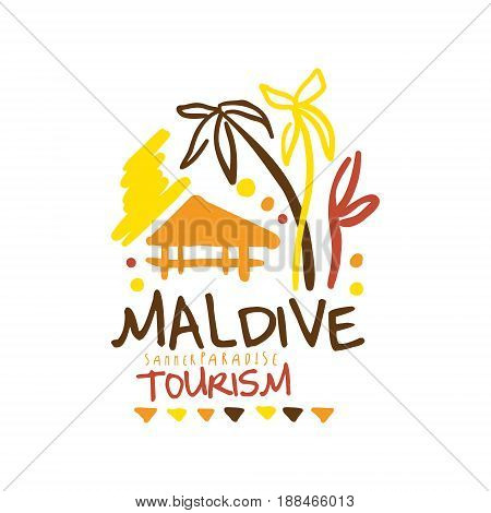 maldive summer paradise tourism logo template hand drawn vector for travel agency tour guide