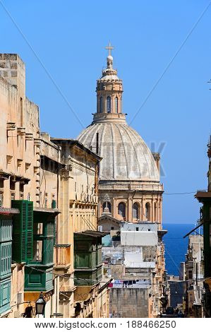 VALLETTA, MALTA - MARCH 30, 2017 - Elevated view of the Basilica of Our Lady of Mount Carmel dome Valletta Malta Europe, March 30, 2017.