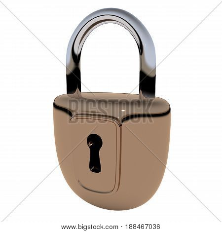 Locked lock. 3D rendering. Isolated over white background