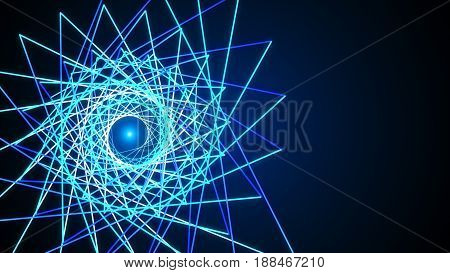 3D Blue Abstract Mesh Background With Circles, Lines And Shapes Design Layout For Your Business Illu