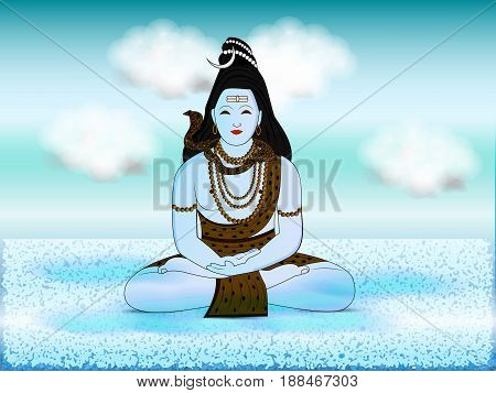 illustration of hindu god shiv on the occasion of hindu festival sawan mass
