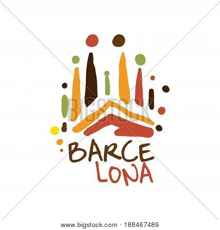 Barcelona tourism logo template hand drawn vector Illustration for travel agency,