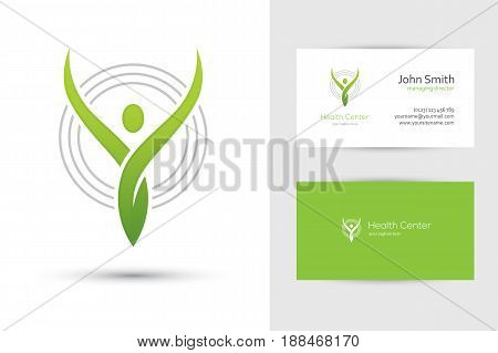 Abstract green human logo and business card design template for health care or yoga center, medical clinic or religious design concept.
