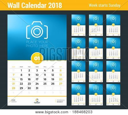 Wall Calendar Template For 2018 Year. Vector Design Template With Place For Photo. Week Starts On Su