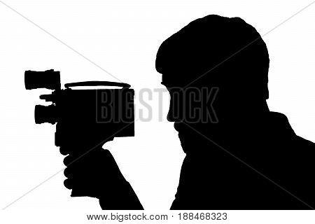 Silhouette Bearded Man Movie Camera.
