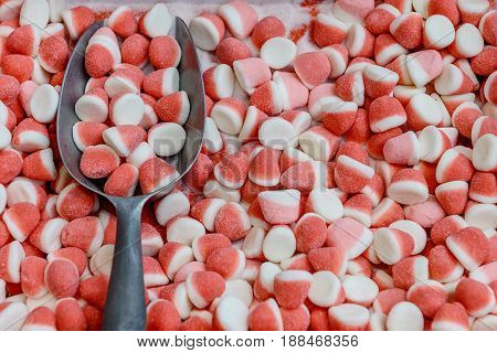image of colored gelatin candies close up