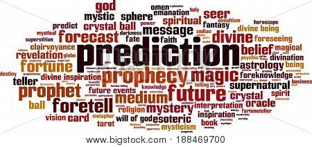 Prediction word cloud concept. Vector illustration on white