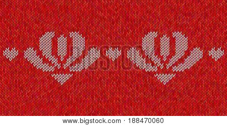 Knitted  texture on red background with white flowers. Colorful pattern. Sample can be used as scheme of knitting, wallpaper, design element, independent project. Melange woolen cloth, handmade.