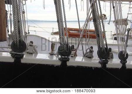 Weather deck of a schooner on the great lakes.