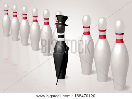 different. black bowling pin with hat and stick leader