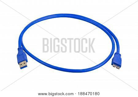 Blue cable usb 3 to micro usb 3 isolated on a white background