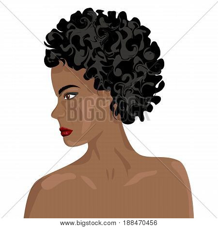 Profile head face human girl girl African woman vector illustration