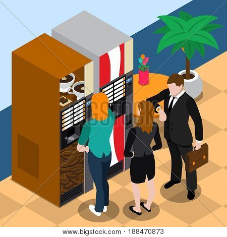 Businessman in black suit looking at watch and girls near coffee vending machine isometric vector illustration