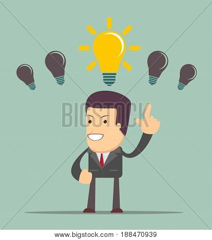 Business person having an bright idea light bulb concept. Stock vector illustration for poster, greeting card, website, ad, business presentation, advertisement design.
