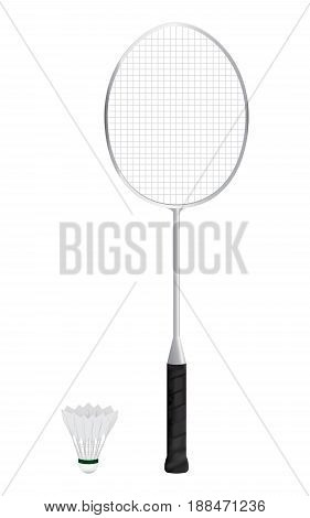 Isolated of Badminton racket and shuttlecock with white background. vector . illustration. graphic design.