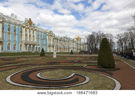 Saint Petersburg, Russia,may 07, 2017:The Great Catherine Palace in the suburbs of St. Petersburg, Pushkin