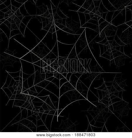 Spider Web Seamless Pattern on Black Background