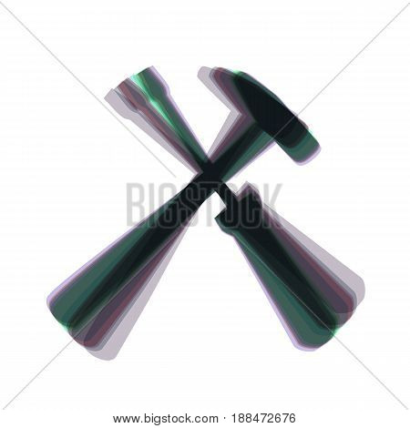 Tools sign illustration. Vector. Colorful icon shaked with vertical axis at white background. Isolated.