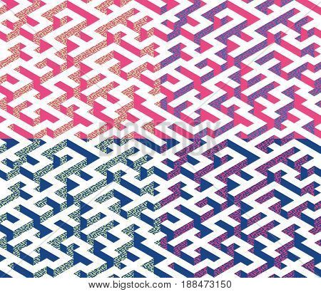 Set of Isometric Maze with blue and pink edges decorated with flat maze ornament. Endless labyrinth. Seamless pattern for background, design, print and textile. Vector illustration.