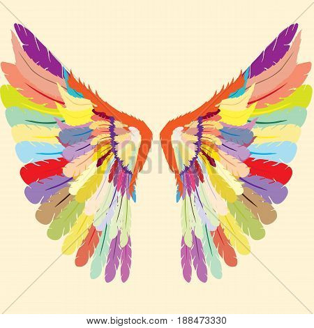 Beautifully colored gothic wings;  Colorful wings logo