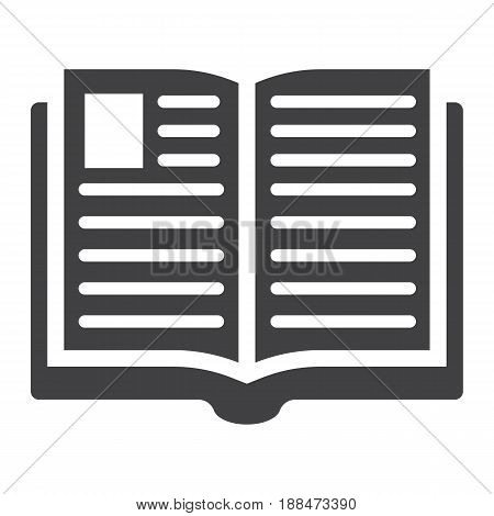 Open book solid icon, Education and school, vector graphics, a filled pattern on a white background, eps 10.