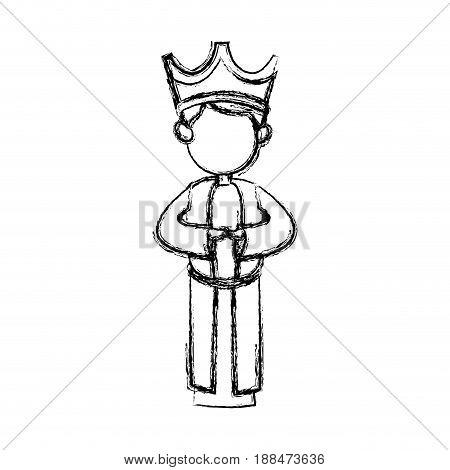 wise king manger character catholic image vector illustration