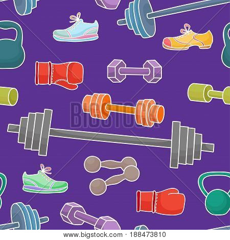 Sport equipment, healthy lifestyle elements. Seamless pattern with simple cartoon dumbbells, boxing glovers and sneakers isolated on white background.
