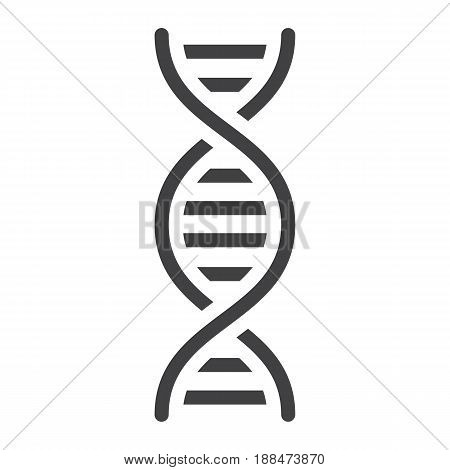 DNA solid icon, science and biology, vector graphics, a filled pattern on a white background, eps 10.