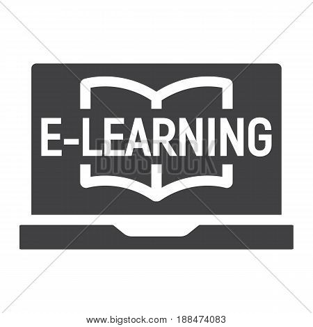 E learning solid icon, education and online, vector graphics, a filled pattern on a white background, eps 10.