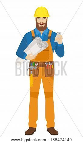 Worker with mobile phone holding the project plans. Full length portrait of worker character in a flat style. Vector illustration.