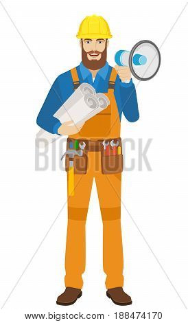 Worker with loudspeaker holding the project plans. Full length portrait of worker character in a flat style. Vector illustration.