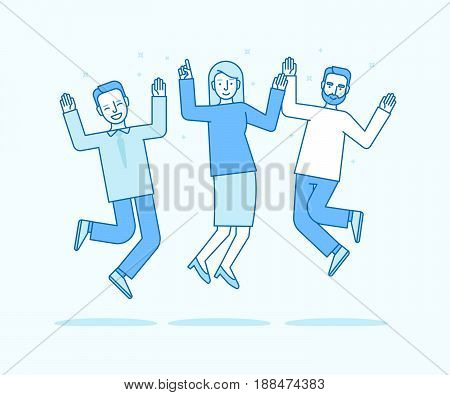 Vector Illustration In Flat Linear Style And Blue Colors - Happy Jumping Team
