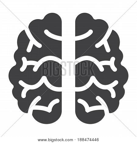 Brain solid icon, brainstorm and idea, medical vector graphics, a filled pattern on a white background, eps 10.