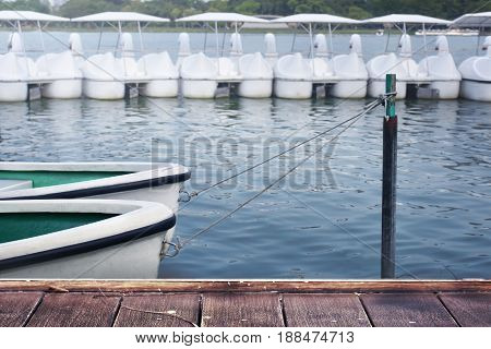 White rowboat moored near shore. Concept - boat quiet wait life hope