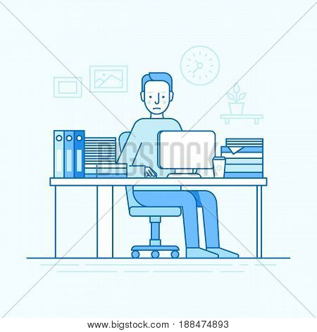 Vector Illustration In Trendy Flat Linear Style And Blue Colors - Man Working Sitting At The Desk Wi