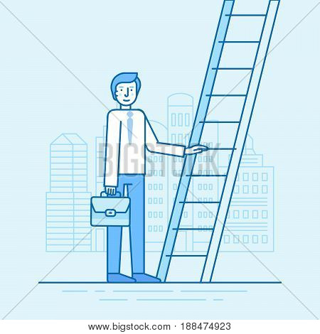 Vector Illustration In Trendy Flat Linear Style In Blue Colour - Career Development Concept