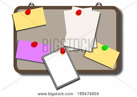Pinboard with different color notes, 3D illustration