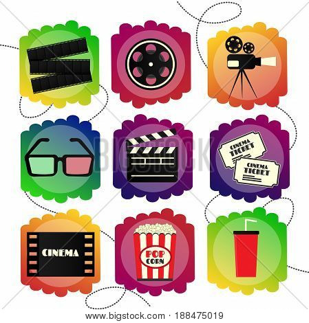 Set of Flat icons of a cinema. Bright multicolor set sign of cinematography and films.