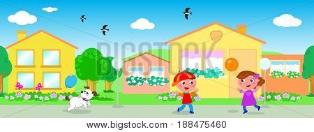Colorful urban landscape with seamless line of houses and playing kids vector
