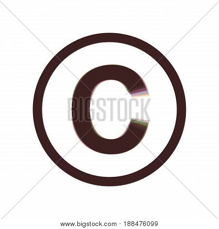 Copyright sign illustration. Vector. Colorful icon shaked with vertical axis at white background. Isolated.