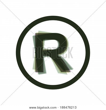Registered Trademark sign. Vector. Colorful icon shaked with vertical axis at white background. Isolated.