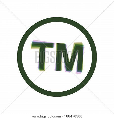 Trade mark sign. Vector. Colorful icon shaked with vertical axis at white background. Isolated.