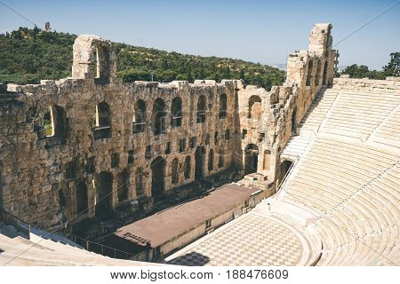 Ancient Theater Of Herodes Atticus On Acropolis In Athens, Greece