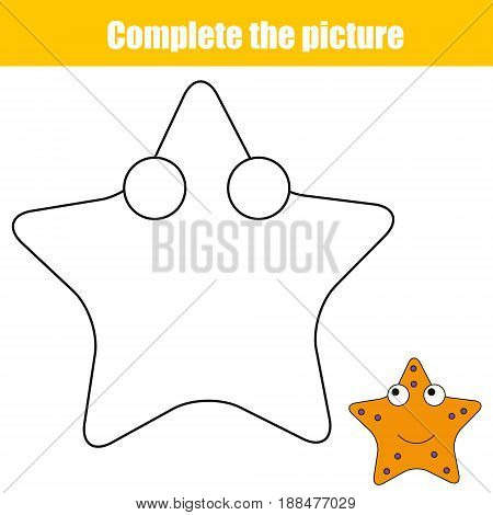 Complete the picture children educational game coloring page. Kids activity sheet with starfish character. Printable drawing worksheet