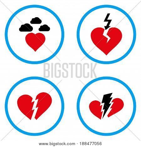 Broken Heart rounded icons. Vector illustration style is a flat iconic symbols inside blue circles. Designed for web and software interfaces.