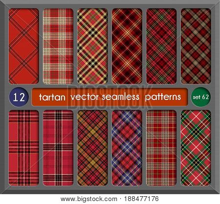 Set Tartan Seamless Pattern Background. Red Black Green Blue Gold and White Plaid Tartan Flannel Shirt Patterns. Trendy Tiles Vector Illustration for Wallpapers