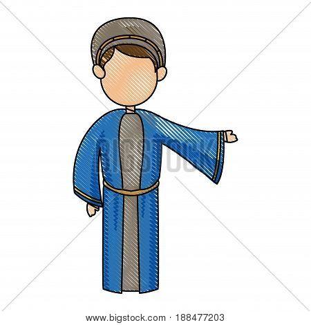 cartoon joseph man father christianity vector illustration